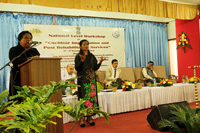 Chief Guest, Smt S.B. Marak, MCS, Commissioner for Persons with Disabilities, Meghalaya, Shillong delivering a speech during the inaugural programme on the 14th November, 2019