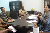 Smt. C. Kharkongor, Commissioner for Persons with Disabilities interacting with police officials  during a meeting on Accessible India Campaign